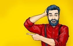 Man med chockat ansiktsuttryck Förvånad man i komisk stil Manvisning annonsering le för man dundersuccé royaltyfri illustrationer
