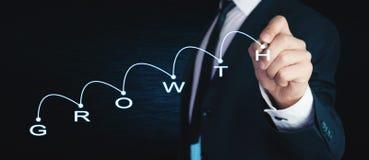 Man med det finansiella diagrammet för begreppstillväxt för bakgrund 3d den isolerade illustrationen framförde white Fotografering för Bildbyråer