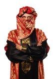 Man med en arabisk dräkt. karneval Arkivfoto