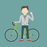Man med en cykel vektor illustrationer