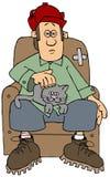 Man med en katt på hans varv stock illustrationer