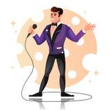 Man med en mikrofon tecknad filmcommandertryckspruta hans illustrationsoldatstopwatch Royaltyfri Fotografi