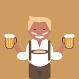 Man med en råna av öl i hans hand stock illustrationer