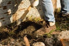 Man med en skyffel som gräver jorden arkivfoto