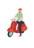 Man med en sparkcykel Arkivfoton