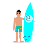 Man med en surfingbrädasommarman i kortslutningar Arkivbilder