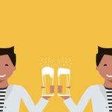 Man med ett exponeringsglas av öl royaltyfri illustrationer