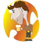 Man med ett exponeringsglas av smakligt öl på en kulör bakgrund royaltyfri illustrationer