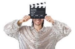 Man med filmclapperboard Arkivbild