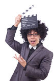 Man med filmclapperen Royaltyfria Foton
