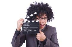 Man med filmclapperen Fotografering för Bildbyråer