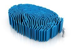 Man med fingeravtryckmodellen Arkivfoton