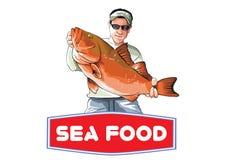 Man med fiskillustrationvektorn Arkivbilder