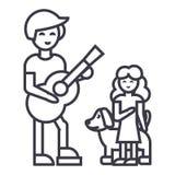 Man med flickan och hunden, fader med dottervektorlinjen symbol, tecken, illustration på bakgrund, redigerbara slaglängder Royaltyfri Foto