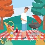 Man med grillat och korvar i bordduken med mat stock illustrationer