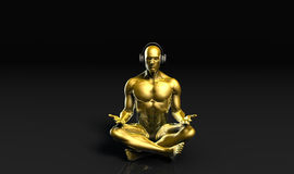 Man med hörlurar som lyssnar till att meditera för musik royaltyfri illustrationer