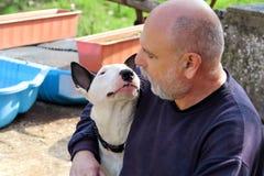Man med hunden EngelskaBull terrier vit hund i företag med hans ägaresammanträde och tycka om i den trädgårds- utomhus- och dalta royaltyfri fotografi