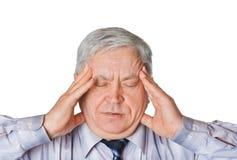 Man med huvudvärk royaltyfri bild