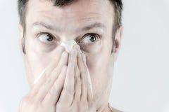 Man med influensa Fotografering för Bildbyråer