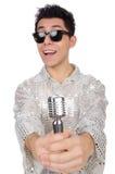 Man med isolerad mic Fotografering för Bildbyråer