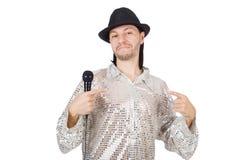 Man med isolerad mic Arkivfoton