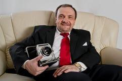 Man med kameran Arkivfoton