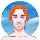 Man med långt ljust rödbrun hår på en bakgrund av vattenfärgcirklar royaltyfri illustrationer