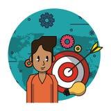 Man med mål- och kulaljus stock illustrationer