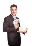 Man med pengar och boken i dräkt Fotografering för Bildbyråer