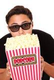Man med popcornhinken och exponeringsglas 3D Fotografering för Bildbyråer
