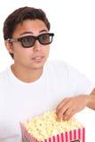 Man med popcornhinken och exponeringsglas 3D Royaltyfri Fotografi