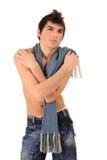 Man med scarfen Arkivfoton