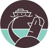 Man med shipen i bakgrund Royaltyfri Illustrationer