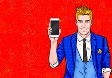 Man med smartphonen i handen i komisk stil Manen med ringer Manvisningmobiltelefon Digital annonsering Iphone mobiltelefon, Arkivfoto