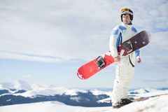 Man med snowboarden Arkivbilder