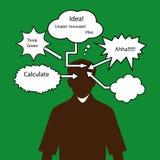 Man med tänkande anförandebubblor Arkivbild
