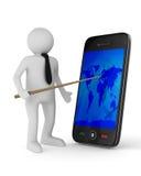 Man med telefonen på vit bakgrund Fotografering för Bildbyråer