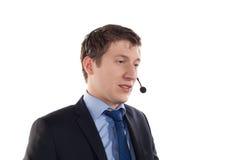 Man med telefonhörlurar med mikrofon Royaltyfri Bild