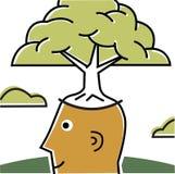 Man med treen som växer ut ur huvudet Royaltyfri Illustrationer