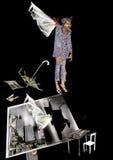 Man med vingar som bryter ut ur ett hus Arkivfoton