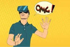 Man med virtuell verklighetexponeringsglas stock illustrationer