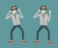 Man med virtuell verklighethörlurar med mikrofon stock illustrationer