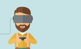 Man med virtuell verklighethörlurar med mikrofon Fotografering för Bildbyråer