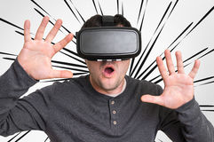 Man med virtuell verklighetskyddsglasögon som spelar lekar 3D Royaltyfri Foto