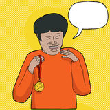 Man with Medal Talking Royalty Free Stock Image