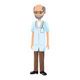 Man medical doctor. Old man medical doctor cartoon icon over white background. colorful desing. vector illustration Royalty Free Stock Images