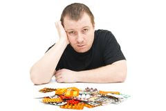 Man and medicines Royalty Free Stock Image