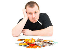 Man and medicines Royalty Free Stock Photo