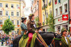 Man  in medieval costume rides a horse Royalty Free Stock Photo