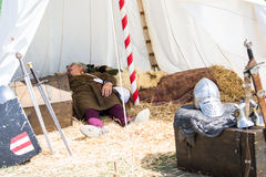 Man with medieval costume sleep in tend Royalty Free Stock Photography